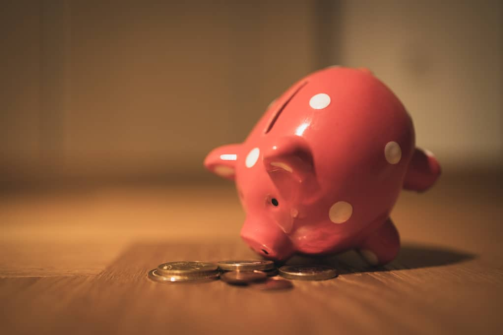 Red piggy banks sniffing gold coins. A solid digital marketing strategy can help you earn more money.