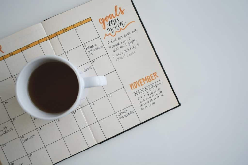 Schedule With Cup Of Coffee. Charlottesville Web Design Saves You Time